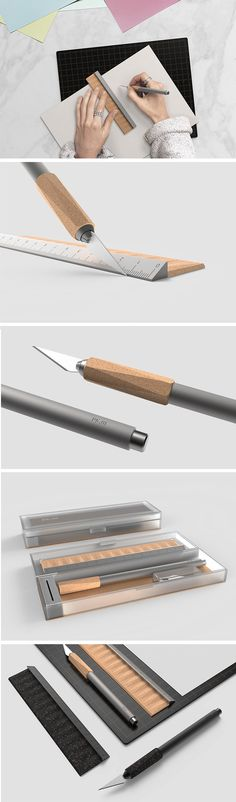 A precision knife for designers by a designer! It's actually a knife and ruler combo and it combines surgical steel with natural cork. The tactile cork provides greater grip and is faceted to prevent rolling. Unlike a loose cap, the cork also slides down to protect the blade.