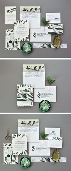 KENDRA SUITE by Citrus Press Co. Mix Botanical and Destination and set out on your adventure for eternity. This wedding announcement has a vintage map aesthetic with a green botanical leaves for that romantic vintage look. Destination Wedding Invitations, Beautiful Wedding Invitations, Vintage Wedding Invitations, Wedding Stationery, Botanical Wedding, Wedding Announcements, Wedding Trends, Wedding Ideas, Wedding Cards