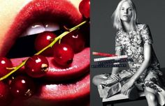 """Stella McCartney  Model:  Suvi Koponen Photographers: Mert Alas and Marcus Piggott   Adding another feather to her cap, Stella McCartney self-styled her spring/summer '14 campaign. """"I wanted to capture the freshness and sensual side of summer,"""" says the designer. """"To evoke a sense of lushness with the images of fruit bursting with life and love; while balancing that with a contrast in the directness of depicting Suvi simply in black and white."""""""