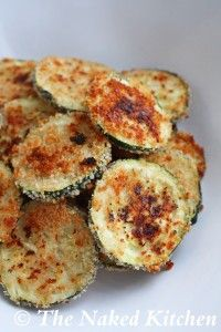 "Zucchini Chips  These are good--and I've done them with squash too! I slice them thin, dip in egg/milk mixture then roll in original flavored bread crumbs with panko. Salt, pepper, paprika and spray the top with olive oil cooking spray. Bake at 350 until brown and crisp. We like them dipped in Ranch dressing, but tonight I'm going to mix up some ""fake"" Cane's sauce!"