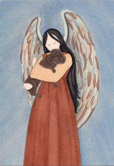 Chocolate/brown poodle cradled by angel / Lynch signed folk art print #folkart