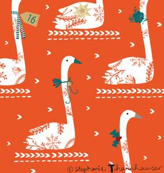 Stephanie Thannhauser - ric-rac ~ Day 16 is for all the people who are like swans gliding around getting everything done to make everyone's Christ. Etsy Christmas, Christmas Mood, Christmas Countdown, Christmas Design, Christmas Ornaments, Christmas Trends, Christmas Inspiration, Diy Trend, Surface Pattern Design