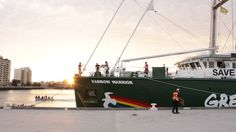 With the sun just over the horizon, the Rainbow Warrior settles into its berth at Prince's Pier (c) Greenpeace / Sarah Yates Rainbow Warrior, Sailing, Around The Worlds, Australia, Sun, Candle, Solar