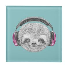 Shop Portrait Of Sloth Pink Headphones, Custom Mouse Pads, Cute Sloth, Glass Coasters, Corner Designs, White Elephant Gifts, Art Pieces, Rings For Men, Ceramics