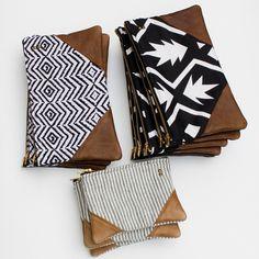print zipper clutch with leather corners