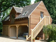 Professional and experienced builders of Oak Framed Garages in Oxfordshire, Hampshire, Berkshire and Buckinghamshire. Carport Designs, Garage Design, Roof Design, House Design, Oak Framed Buildings, Timber Buildings, Carport Garage, Barn Garage, Detached Garage