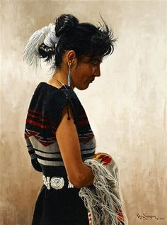 Artwork by Ray Swanson, Navajo in Rug Dress, Made of Oil on board kp