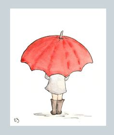 The Red Umbrella. Print 8X10. Nursery Art Wall Decor