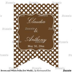 Brown and White Polka Dot Wedding Bunting Flags