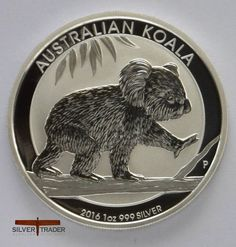 The 2016 Australian Koala 1 ounce silver bullion coin features a new design each year. The 2016 issue features a koala walking along a tree branch.