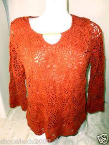 "DRAPERS & DAMON'S Rust 3"" Crochet Flower Throughout ¾ Sleeves Halter Lined"