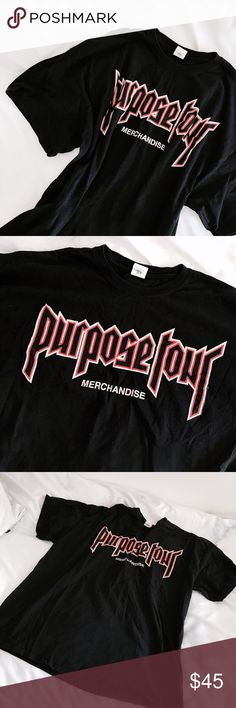 "Purpose Tour Merchandise T-Shirt The coveted black ""Purpose Tour"" merchandise t-shirt from Justin Bieber's tour. Black with white and red graphics, designed by the same designer who does VFiles. Worn once and the only wear is a slight fading/wear that comes whenever you wash a black tshirt for the first time. Marked size 2XL but i'm a women's S and wore it as a dress. For reference, it measures 29""L and 24"" pit to pit, and i am 5 ft 4. Approx retail $50 from UO. Urban Outfitters Tops Tees…"