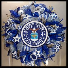 Over The Top Wreaths, San Antonio, Texas. Handmade wreaths and door decor. Wreath Crafts, Diy Wreath, Wreath Making, Wreath Ideas, Army Crafts, Military Crafts, Military Welcome Home, Military Retirement Parties, Military Wreath