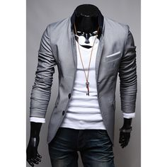 Slimming Stand Collar Color Block Splicing Long Sleeves Polyester Blazer For Men #Fashion#Gearbest#