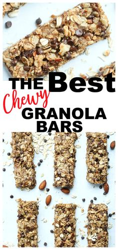 This Chewy Homemade Granola Bars is easy and results in the best homemade snack bars you can imagine! You'll never want to buy store bought bars again. These have the best flavor and they're made without refined sugar! Clean Dinner Recipes, Clean Eating Dinner, Clean Eating Recipes, Snack Recipes, Brunch Recipes, Chocolate Chip Granola Bars, Chewy Granola Bars, Homemade Granola Bars, Gluten Free Cookies