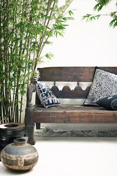 Old wooden bench, bamboo, ethnic accessories