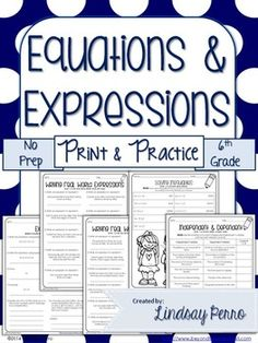 This resource is designed to give your students the opportunity practice skills involving all equations, expressions and inequalities, while making prep easy on you! Included are 30 pages of practice problems. All worksheets align with 6th Grade Common Core Standards.