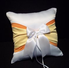 Use coupon code PINITFREESHIP for FREE shipping!  Tangerine Orange Lemon Yellow & White or Ivory Wedding Ring Bearer Pillow by Jessicasdaydream
