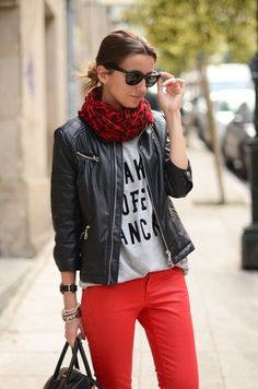 greyscale + red.