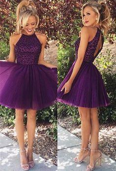 Elegant Purple Beadings High Neck Homecoming Dress Short from www.27dress.com
