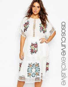 ASOS Curve | ASOS CURVE Midi Dress With Patch Floral Embroidery And Crochet Lace at ASOS