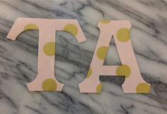 Iron on Greek Letters Metallic Gold and Blush Dot by GirlieGreek Metallic Gold, Greek, Blush, Dots, Iron, Letters, Handmade, Stuff To Buy, Stitches