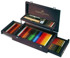 Amazon.com : Faber-Castell Art and Graphic Collection Mahogany Vaneer Case : Artists Drawing Sets : Office Products