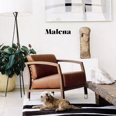 We love the combination of cognac leather with walnut for this STUA Malena armchair, Jon Gasca design www.stua.com/design/malena