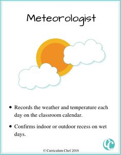 classroom jobs for elementary students meteorologist Classroom Jobs Board, Classroom Calendar, Classroom Helpers, Classroom Management, Helper Jobs, Curriculum, Homeschool, Design Squad, Help Wanted