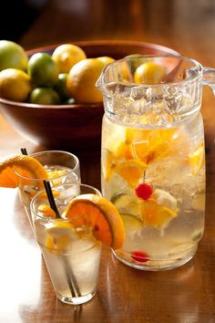White Sangria at Barrio: 4 bottles white wine, 13 oz. peach schnapps, 1 grapefruit sliced, 1 apple sliced, Lemon, lime and orange chunks to garnish, Splash soda, Splash Sprite