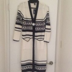Long Cozy Sweater! Cream & Black duster made from cotton & acrylic. So cute with boots, dress, skirt, shorts or anything! Sweaters