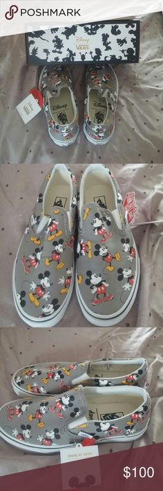 Disney Van's Mickey Mouse Classic Slip-ons. Frost Gray in color with America's favorite mouse present from heel to toe.  Great addition for the Disney lover in your family Vans Shoes Sneakers