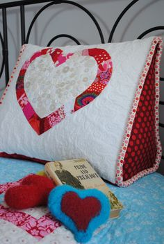 My newest design... the One Heart Reading Pillow!     The shape of this pillow is perfect for reading in bed due to it's triangle shape w...