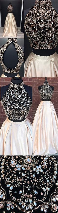 Ball Gown Prom Dresses, Two Piece Prom Dresses, Long Prom Dresses, 2018 Prom Dresses For Teens, High Neck Prom Dresses Satin, Modest Prom Dresses Beading #promgowns #dressesforteens