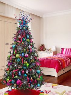 Update your holiday decor this year with one of these beautiful Christmas trends. Read here to find 12 inspiring Christmas trees that are sure to be a hit. Christmas Tree With Coloured Lights, Whimsical Christmas, Colorful Christmas Tree, Christmas Tree Themes, Pink Christmas, Christmas Colors, Christmas Canvas, Holiday Decor, Beautiful Christmas Trees