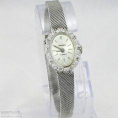 Vintage Helbros Ladies Watch 21 Jewel MVMT 10 Diamonds in Bezel SuzePlace.com