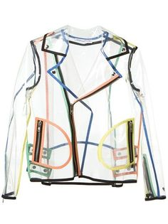 Clear plastic rain jacket with multicoloured trim and zipper details makes a definite statement.. DIY the look yourself: http://mjtrends.com/pins.php?name=clear-vinyl-for-rain-jacket