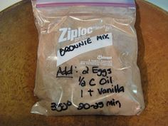 Homemade Brownie Mix: 1 Cup Sugar Cup All-Purpose Flour Cup Cocoa tsp Salt tsp Baking Powder. Put mix in plastic bags or mason jars. At Baking Time Add: 2 Eggs, Cup Vegetable Oil, 1 teaspoon Vanilla. Bake @ 350 degrees for minutes in a greased or pan. Sweet Recipes, Snack Recipes, Dessert Recipes, Snacks, Cooking Recipes, Jar Recipes, Chef Recipes, What's Cooking, Family Recipes