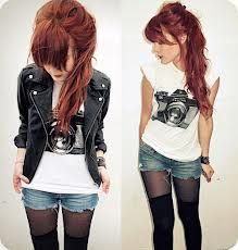 I love the stockings with knee high socks. I don't care for the leather jacket much.