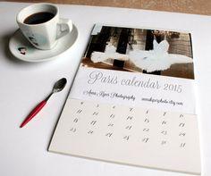 2015 calendar Paris calendar 2015 wall calendar Paris decor oversized wall art monthly calendar vintage style 5x7 8x11 A4 calendar      set of 12
