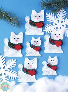 Plastic Canvas Kit ~ Design Works Set of 6 Christmas Cats Ornaments in Crafts, Needlecrafts & Yarn, Needlepoint & Plastic Canvas Plastic Canvas Stitches, Plastic Canvas Coasters, Plastic Canvas Ornaments, Plastic Canvas Crafts, Plastic Canvas Patterns, Christmas Crafts, Christmas Ornaments, Christmas Ideas, Plastic Canvas Christmas
