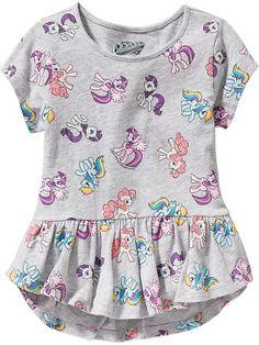 My Little Pony® Peplum-Hem Tees for Baby Product Image Kids Dress Wear, Kids Outfits Girls, Cute Outfits For Kids, Little Girl Dresses, Girl Outfits, Baby Girl Fashion, Toddler Fashion, Kids Fashion, Baby Girl Dress Patterns
