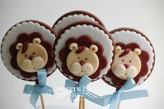 Lion chocolate pops for a baby shower / pirulitos de chocolate para chá de bebê
