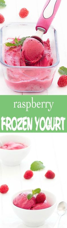 You only need 3 ingredients to create this healthy raspberry frozen yogurt. It's the perfect summer dessert: refreshing, smooth, creamy, delicious, and bursting with raspberry flavor! Only 140 calories per serving! (Pinned 7.43K times)
