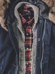 checkered shirt under the cardigan