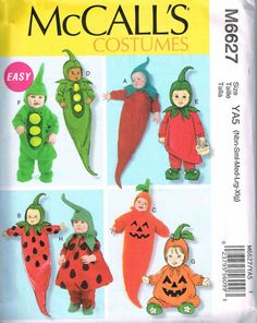 Infants Sweet Pea Pumpkin Chili pepper and Baby Strawberry Sewing Pattern Halloween Costume McCalls 6627 Sewing Pattern S M L  sc 1 st  Pinterest & 90 best Children Halloween Costumes Sewing Patterns images on ...