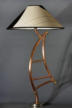 Copper Lamps, Copper Decor, Art Deco Furniture, Pipe Furniture, Pipe Lighting, Lighting Design, Lampe Steampunk, Copper Candle Holders, Wood Floor Lamp