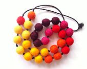 Warm Colour Variegated Felt Ball Necklace - Circles