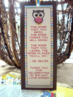 Owl Bookmark Owl Party Favor Bookmark Favor by TooCuteInvites love this idea!