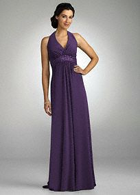 Perfect for any fashionable bridesmaid looking to stand out!  Halter neckline is ultra chic and adds support.  Dazzling beaded empire waist creates a stunning silhouette.  Clasp detail and open back adds drama and flare to this already stunning dress.  Fully lined. Back zip. Imported polyester. Dry clean.  Sizes and colors may have limited availability and may vary by store.